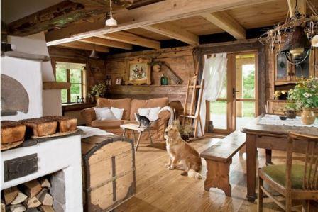 Интерьер деревенского дома внутри в деревенском стиле
