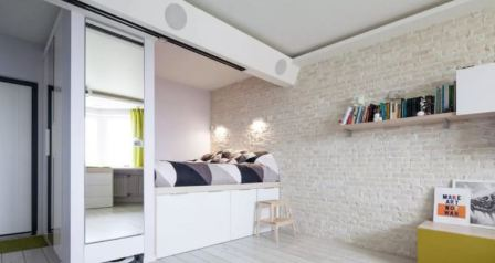 Дизайн однокомнатной квартиры с кроватью