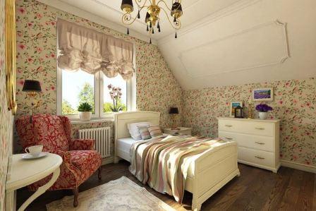 Спальня +в стиле кантри: фото интерьер