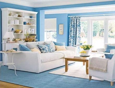 Интерьер синей гостиной