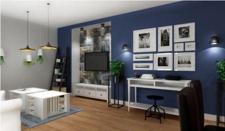 Темно синяя гостиная