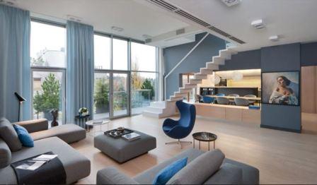 Гостиная в синем стиле