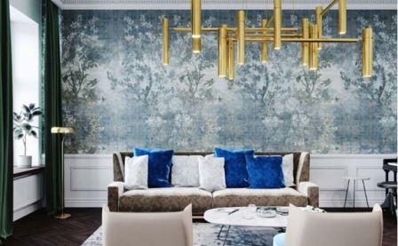 Синий цвет в интерьере гостиной