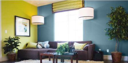 Синий интерьер гостиной фото