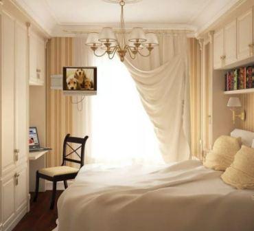Интерьер спальни в маленькой комнате