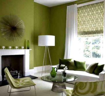 Бело зеленая гостиная