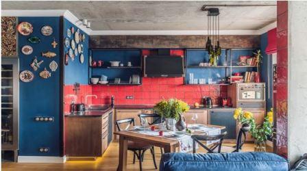 Сине красная кухня