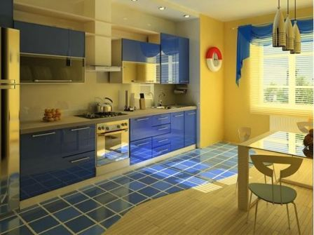 Желто синяя кухня