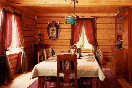 Интерьер в русском стиле в деревянном доме