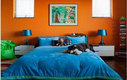 Синяя мебель: спальня
