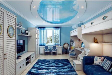 Спальня в синих тонах: фото