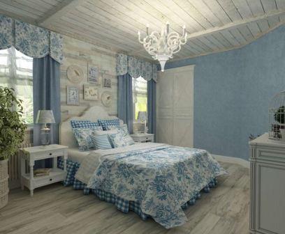 Бежево синяя спальня