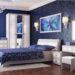 Дизайн спальни в синем цвете