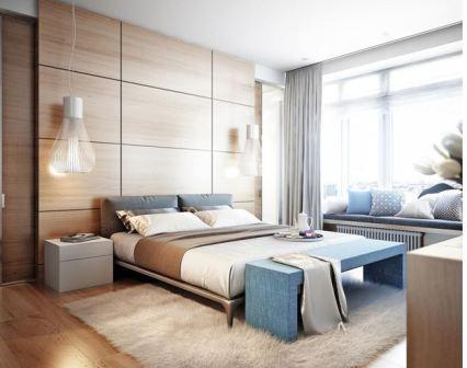 Сине голубая спальня