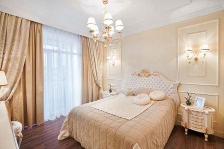 Интерьер спальни в бежевом цвете, правила оформления